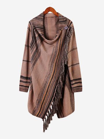 Casual Striped Tassel Women Knit Shawl Coats-Newchic-