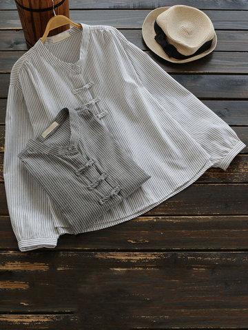 Casual Women Stripe Frog Button Shirts-Newchic-