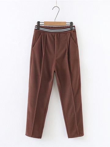 Elastic Waist Pocket Harem Pants-Newchic-