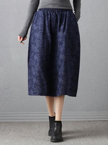Elegant Women Elastic Waist Jacquard Skirts-Newchic-