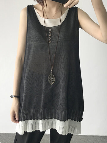 Fake Two Pieces Women Tank Tops-Newchic-