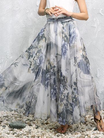 Floral Print Women Maxi Skirts-Newchic-