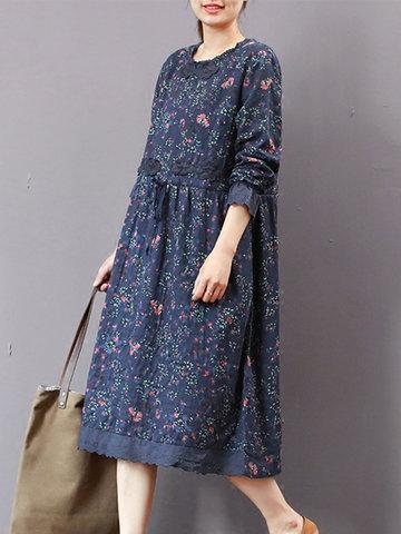 Floral Printed Drawstring Vintage Dresses-Newchic-