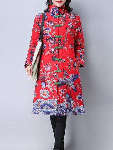 Folk Style Floral Print Women Coats-Newchic-