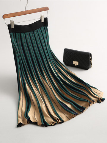 Gradient Elastic Waist Knitted Skirts-Newchic-