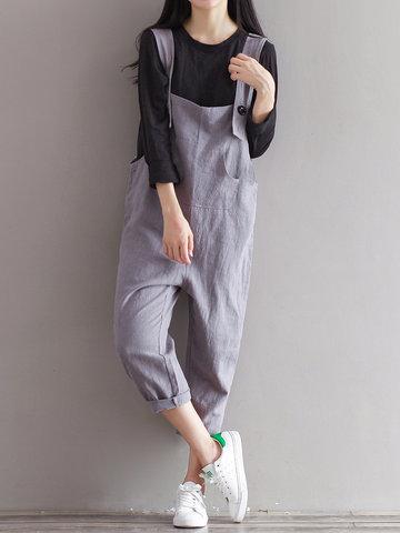 Haren Style Women Spaghetti Strap Pure Color Jumpsuits-Newchic-