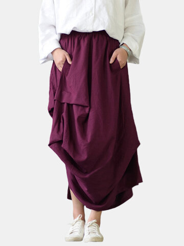 Irregular Splited Elastic Women Maxi Skirts-Newchic-