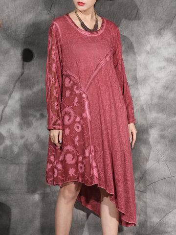 Lace Patchwork Irregular Hem Dresses-Newchic-