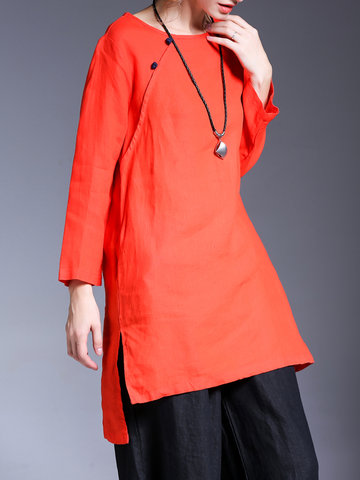 Miting Vintage Solid Color Women Blouses-Newchic-