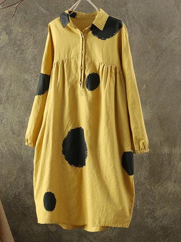 Polka Dot Print Women Dresses-Newchic-