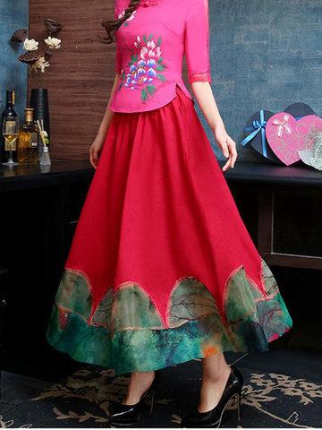 Print Patchwork Women Maxi Skirts-Newchic-