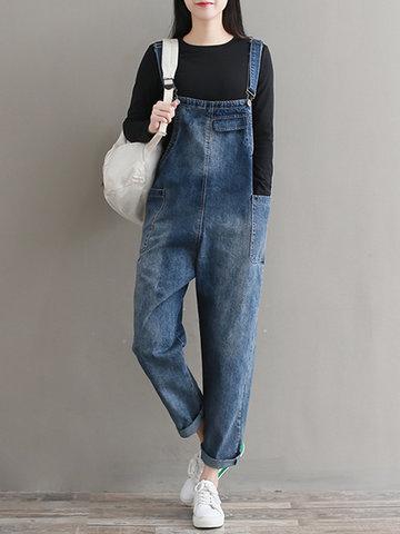 Pure Color Denim Pocket Strap Jumpsuit-Newchic-