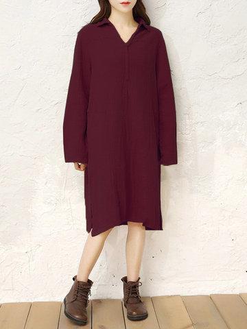 Splited Pure Color Women Dresses-Newchic-