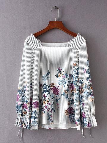 Stripe Floral Print Women Blouses-Newchic-