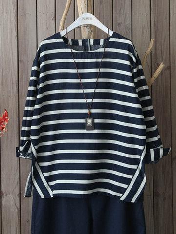 Stripe Splited Blouses For Women-Newchic-