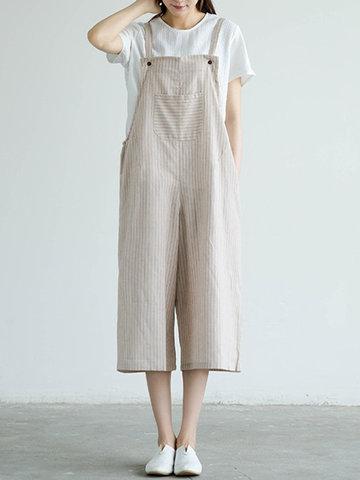 Stripe Wide Leg Rompers For Women-Newchic-