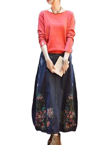 Vintage Embroidered Elastic Waist Skirts-Newchic-