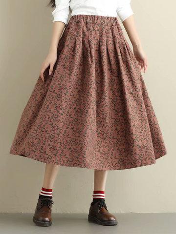 Vintage Floral Elastic Waist Women Skirts-Newchic-