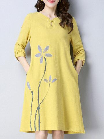 Vintage Floral Print Women Dresses-Newchic-