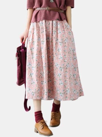 Vintage Floral Print Women Skirts-Newchic-