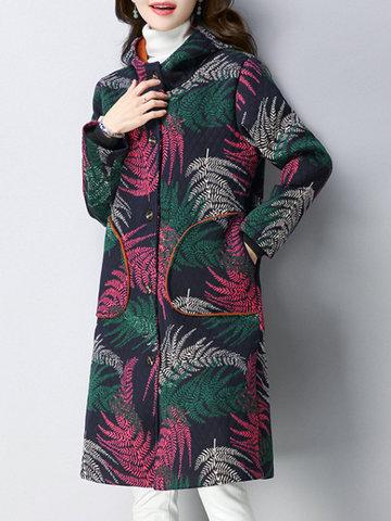 Vintage Leaf Printed Hooded Women Coats-Newchic-