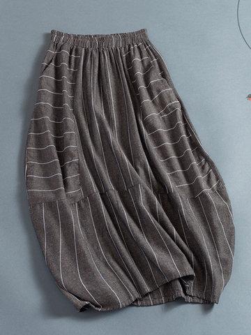 Vintage Stripe Women Skirts-Newchic-