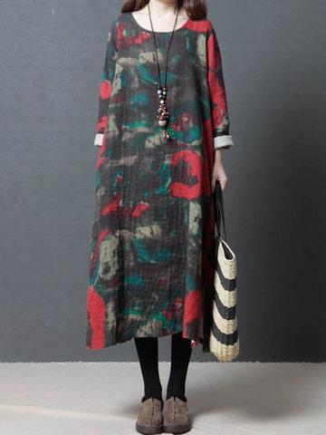 Vintage Women Printed Long Sleeve Dress-Newchic-