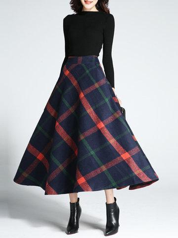 Women High Waist Plaid Skirts-Newchic-