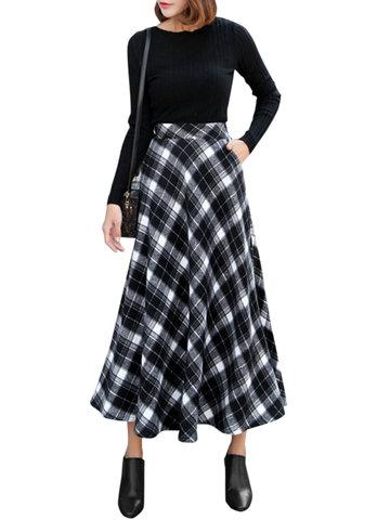 Women Plaid Elastic High Waist Skirts-Newchic-